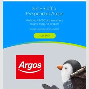 British Gas customers Get £3 off a £5 spend in store @ Argos