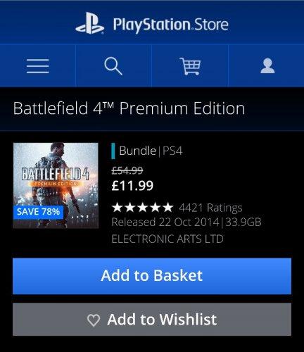 Battlefield 4 Premium edition £11.99 PSN