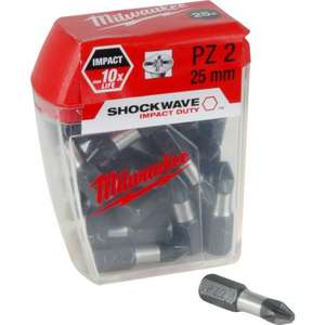Milwaukee Shockwave Impact Screwdriver Bits !25 PACK! PZ2 x 25mm £3.25 @ Toolstation