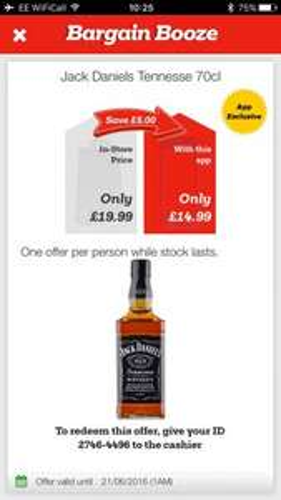 Jack Daniels 70cl £15 via bargain booze app