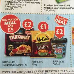 Meal Deal, Pizza, Wedges, Ben and Jerry's £5.00 from Nisa Local Stores