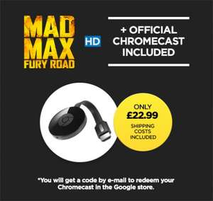 Chromecast 2 + Mad Max Fury Road HD £22.99 / Chromecast 2 + The Intern HD £22.99 @ Wuaki