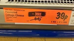 COTTAGE CHEESE 300g 39p AT LIDL, BRANDON
