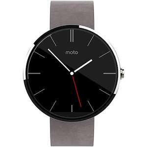 Motorola Moto 360 Smartwatch, Android Wear, Light Case and Leather Band at John Lewis £79
