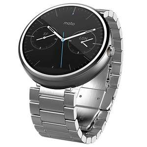 Motorola Moto 360 Metal Smartwatch, Android Wear, Light Chrome Case and Stainless Steel Band £99 @ John Lewis