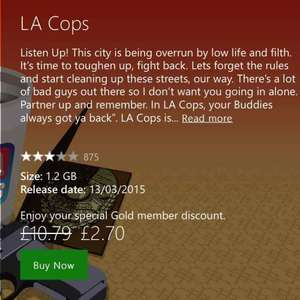 LA Cops Xbox One £2.70 (Gold Members) @ Xbox Store