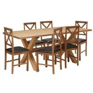 Hudson Solid Wood Dining Table and 6 Chairs (was £329.99) Now £136.94 delivered at Argos