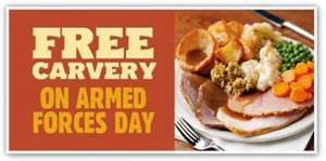 Armed Forces Day Serving Soldiers & Reserves to Veterans & Cadets a Free Carvery @ Toby Carvery