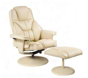 Swivel Recliner Chair & Footstool in Mink (Cream) or Brown for £111.74  from Betterlife