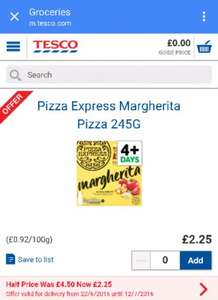 Pizza Express pizzas half price at £2.25 on 8 inch varieties at Tesco.com
