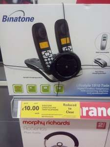 Binatone Lifestyle 1910 twin cordless dect phones down from £39.00 to £10.00 in store at tesco