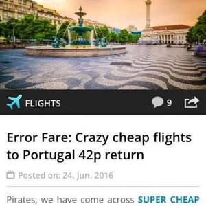 Error Fare: Crazy cheap flights to Portugal 42p return @ Holiday pirates