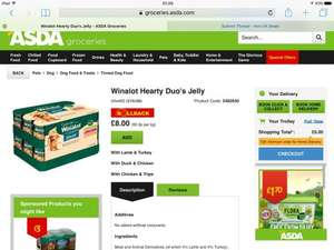 Winalot 24 tins in jelly £8 @ asda hearty duo dog food