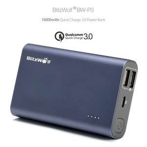 [Qualcomm Certified] BlitzWolf® BW-P3 10000mAh 18W QC3.0 Quick Charge Dual USB Port Power Bank @ Banggood for £14.85