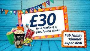 Odeon SUmmer Deals - Family Package for 3 or 4. Movie, drinks and popcorns