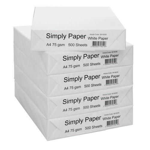 Simply A4 75 gsm paper 5x500 @ Staples  £10.00 free c+c