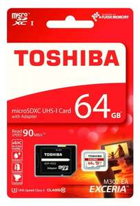 Toshiba Memory Exceria M302 64GB Class 10 MicroSDXC 90 Mbps 4K with SD Adapter, £10.95 for amazon/prime delivered £14.94 non prime