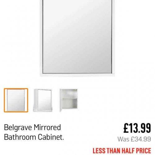 Belgrave Mirrored Bathroom Cabinet £13.99 from Argos