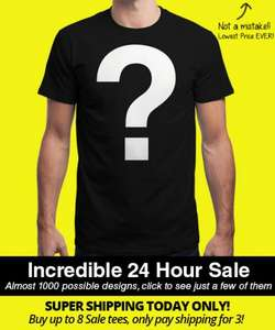Qwertee Mega Insanitee Sale 24Hrs - Tshirts £4, Sweatshirts £8, Hoodies £12 + £2.50 - £4.95 Postage (up to 8 tshirts)