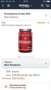 BSN Amino X Blue Raspberry BCAA 1kg £19.20  (Prime) / £23.95 (non Prime) Sold by fly eagle and Fulfilled by Amazon