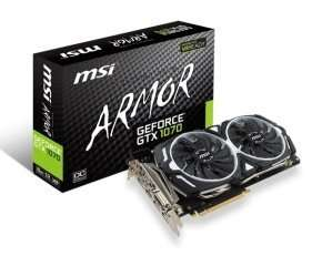 MSI GeForce GTX 1070 ARMOR 8G Graphics Card - £390.99 @ Ebuyer