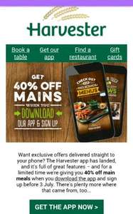 40% off mains at Harvester when you download their new app