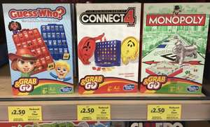 Hasbro Grab & Go £2.50 Each (Guess Who / Connect 4 / Monopoly) - Tesco