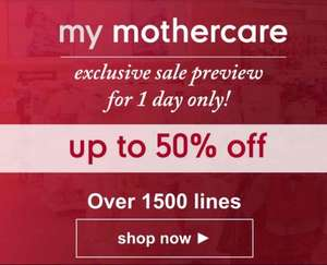 Mothercare Exclusive 1 Day Sale Preview - Up to 50% off baby goods - inc clothing, car seats, toys, etc