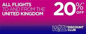 20% off Wizz Air flights to and from the UK (Wizz Discount Club Members)