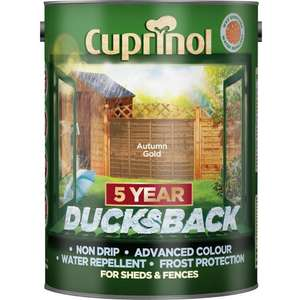 Cuprinol 5 year Ducksback Shed/Fence Paint 5 Litres in lots of colours was £13.95 now £8 C+C @ Wilko