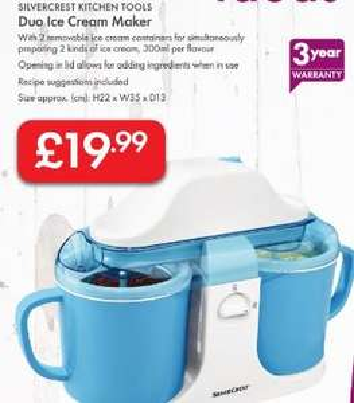 Duo Ice Cream Maker £19.99 - LIDL (Silvercrest) - 3 Year Warranty