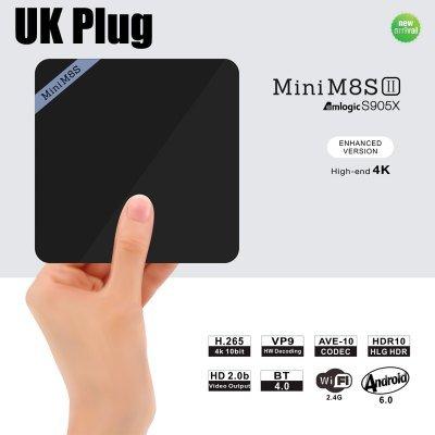 Mini M8S II (New Amlogic S905X Chip), 4K Smart TV Box Quad Core Processor UK PLUG 64Bit Android 6.0 2GB DDR3 + 8GB eMMC 2.4GHz WiFi Bluetooth 4.0 Support VP9 Decoder £26.99 With Code @ Gearbest