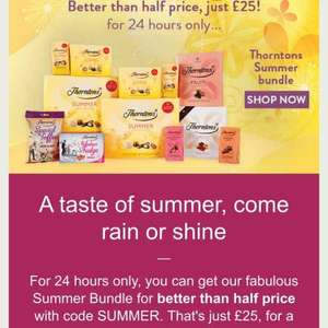 Thorntons Summer bundle £25 @ Thorntons (Standard Delivery - £4.00)