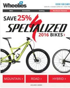 25% off Specialized 2016 bikes at Wheelies! Specialized Pitch Sport £375