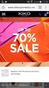 70% sale at Kiko cosmetics in store and online