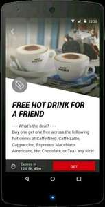 Caffe Nero buy one get one free on hot drinks using Virgin Red App