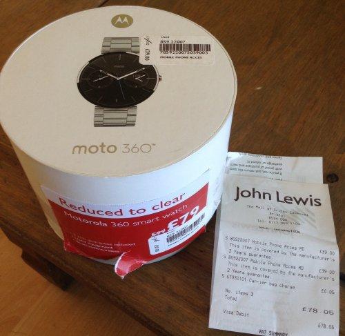 Moto 360 1st Gen various straps £39 @ John lewis - Bristol