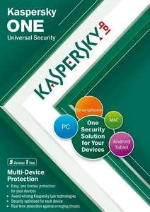 Kaspersky One Universal Security (5 Multi Device, 1 Year subcription) (PC/Mac/Android) From Amazon @ £4.50 (Prime)  / £6.49 (non Prime)