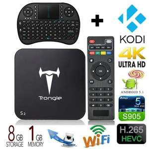 S2 Amlogic S905 Quad Core Android TV Box Kodi Fully Loaded (With Wireless Keyboard) - £43.99 @ Sold by SEGURO and Fulfilled by Amazon.