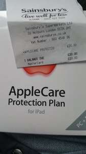 applecare protection plan for  £20 ipad sainsburys oldham