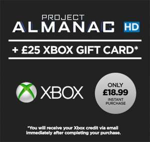 Project Almanac HD (Movie) + £25 XBOX Gift Card - £6 XBOX STORE CREDIT FOR FREE AND HD MOVIE! £18.99 @ Wuaki