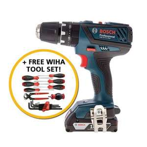 BOSCH GSB18-2-LI PLUS 18V COMBI HAMMER DRILL WITH 2X 2.0AH LI-ION BATTERIES + FREE WIHA TOOL SET [poss 6% Quidco] £99.96 @ Anglia tool center