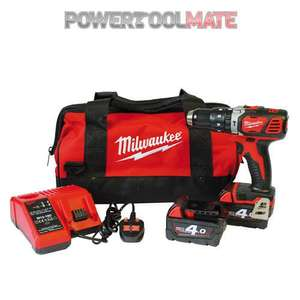 Milwaukee M18BPD-402C 18v Combi Hammer Drill, 2x 4Ah Batteries with Bag  £149.99  powertoolmate/ebay