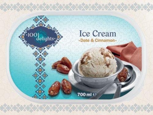 1001 DELIGHTS Ice Cream (700ml) (FROZEN) Mint & Green Tea, Pistachio & Saffron or Date & Cinnamon ONLY £1.49 each