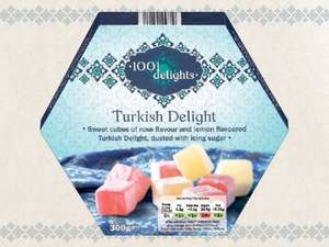 1001 DELIGHTS Turkish Delight Sweet cubes of rose & lemon flavoured Turkish delight dusted with icing sugar (300g) ONLY £1.59 @ Lidl