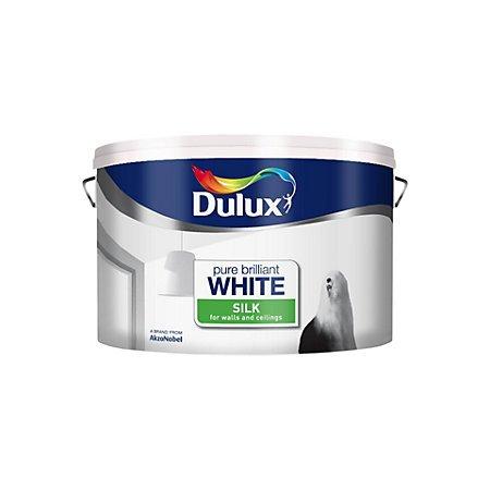 B&Q Dulux Pure Brilliant White Silk or Matt Emulsion Paint 10L at B&Q for £15