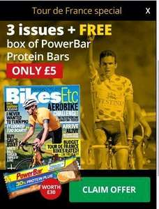 "3 issues of BikesEtc and a FREE box of PowerBar protein bars delivered (""worth £30"") for £5 @Dennis Publishing"