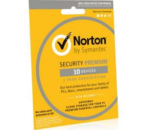 Norton Security Premium & Cloud Backup - 1 year for 10 devices - £28 @ Currys (Instore & Download)