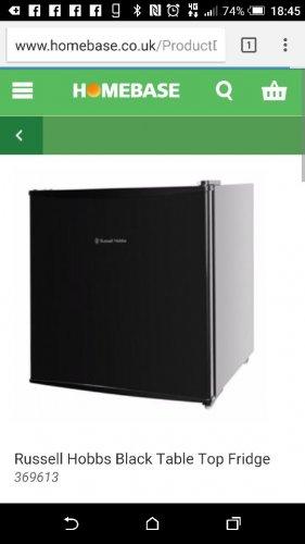 Mini fridge £59.10 @ Homebase