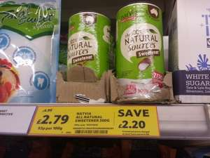 Natvia Sweetener 300g, Tesco In Store Only was £4.99 NOW £2.79